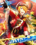 cape character_name idolmaster idolmaster_side-m jacket orange_hair short_hair smile tsukumo_kazuki yellow_eyes