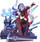 1girl arm_up armored_boots artist_request bangs battleship beret black_headwear black_legwear blue_hair boots breasts brown_footwear brown_gloves brown_legwear cape covered_navel eyebrows_visible_through_hair from_side full_body fur-trimmed_cape fur_trim gloves glowing green_eyes hair_over_one_eye half-closed_eyes hand_up hat highres hip_vent jacket large_breasts leggings leotard long_hair long_sleeves looking_to_the_side military military_vehicle missile non-web_source official_art open_clothes open_jacket open_mouth outstretched_arm pouch purple_jacket scar scar_across_eye shiny shiny_hair ship sidelocks sirene_(world_flipper) sitting smoke solo teeth thigh-highs thigh_boots transparent_background two-sided_cape two-sided_fabric v-shaped_eyebrows warship watercraft white_cape white_leotard world_flipper