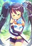 >_< :3 :d bangs bare_shoulders belt belt_buckle black_gloves black_hair black_shorts blurry blurry_background blush buckle closed_mouth collared_shirt copyright_request crossover day depth_of_field detached_sleeves eyebrows_visible_through_hair facing_viewer fingerless_gloves gen_3_pokemon gloves hair_between_eyes heart_buckle hug kouu_hiyoyo long_hair long_sleeves mudkip open_mouth outdoors pokemon pokemon_(creature) puffy_long_sleeves puffy_sleeves shirt short_shorts shorts sidelocks sleeveless sleeveless_shirt smile tree twintails very_long_hair virtual_youtuber white_shirt yellow_belt