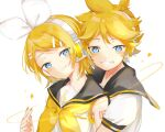 1boy 1girl bangs bare_shoulders black_collar blonde_hair blue_eyes bow collar commentary fang grin hair_bow hair_ornament hairclip headphones headset highres hug hug_from_behind kagamine_len kagamine_rin looking_at_viewer neckerchief oyamada_gamata sailor_collar school_uniform shirt short_hair short_ponytail short_sleeves shoulder_tattoo sleeveless sleeveless_shirt smile spiky_hair star_(symbol) swept_bangs tattoo treble_clef vocaloid white_background white_bow white_shirt yellow_neckwear