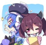 >_< +++ 2girls :d animal bangs bare_arms bare_shoulders black_headwear blue_dress blue_flower blue_hair blush brown_hair bug butterfly chibi closed_eyes closed_mouth collared_shirt commentary_request drawing dress eel_hat eyebrows_visible_through_hair fang flower glasses gradient_dress gradient_hair hair_between_eyes hair_ornament hairclip headgear highres insect jacket long_hair milkpanda multicolored_hair multiple_girls off_shoulder one_eye_closed open_clothes open_jacket open_mouth otomachi_una pink_dress pink_jacket profile purple_hair red-framed_eyewear red_eyes sailor_collar sailor_dress shirt sleeveless sleeveless_dress smile sweat talkex thick_eyebrows touhoku_kiritan twintails very_long_hair voiceroid wavy_mouth white_sailor_collar white_shirt xd