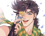 2boys battle_tendency brown_hair caesar_anthonio_zeppeli chibi close-up face green_eyes green_scarf jojo_no_kimyou_na_bouken joseph_joestar_(young) looking_at_viewer male_focus multiple_boys portrait scarf shirt short_hair sleeveless sleeveless_shirt smile solo_focus spadelake spiky_hair upper_body
