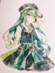 1girl alina_gray black_ribbon black_vest closed_mouth collared_shirt eyebrows_visible_through_hair fur_armlet green_eyes green_hair hat highres holding holding_clothes holding_hat long_hair magia_record:_mahou_shoujo_madoka_magica_gaiden magical_girl mahou_shoujo_madoka_magica multicolored multicolored_clothes multicolored_skirt muyao991 pleated_skirt puffy_short_sleeves puffy_sleeves ribbon see-through_shirt shirt short_sleeves skirt smile solo soul_gem traditional_media vest