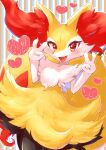 aije blush braixen commentary_request double_v eyelashes fang gen_6_pokemon happy heart highres open_mouth outline pokemon pokemon_(creature) pose red_eyes smile solo tongue v white_fur yellow_fur