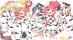 5girls :d :o animal_print bangs barefoot bell black_hair blonde_hair blue_eyes blush bottle brown_eyes brown_hair character_doll closed_eyes commentary cow_hood cow_print fang flower green_eyes hair_flower hair_ornament hair_ribbon hairclip highres himesaka_noa holding_hands hood hood_down hood_up hoshino_hinata hoshino_miyako_(wataten) konomori_kanon light_brown_hair long_hair long_sleeves lying makuran milk_bottle multiple_girls on_back on_side one_side_up open_mouth pajamas pink_eyes print_pajamas red_ribbon redhead ribbon shirosaki_hana short_hair smile stuffed_cow tanemura_koyori twintails watashi_ni_tenshi_ga_maiorita! x_hair_ornament
