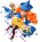 1girl 2boys afglo alena_(dq4) angry bald beard belt black_legwear blush boots brey cape chibi clift curly_hair dragon_quest dragon_quest_iv dress earrings facial_hair full_body gloves happy hat heart holding holding_staff jewelry long_hair multiple_boys open_mouth orange_hair pantyhose pointy_hat red_eyes short_sleeves staff sword weapon white_hair