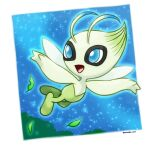 antennae artist_name blue_eyes blue_outline blue_sky border celebi commentary_request fairy_wings flying full_body gen_2_pokemon happy leaf legendary_pokemon looking_to_the_side mythical_pokemon night night_sky open_mouth outline outside_border pokemon pokemon_(creature) rorosuke sky smile solo star_(sky) starry_sky tree twitter_username white_border wings