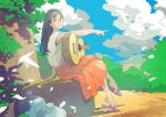 1girl blue_sky bottle clouds cloudy_sky glasses guitar instrument long_skirt looking_at_viewer orange_skirt original plant pleated_skirt pointing pomodorosa purple_footwear round_eyewear sandals shadow shirt sitting skirt sky sleeveless sleeveless_shirt solo tree white_shirt