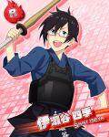 black_hair blue_eyes character_name idolmaster idolmaster_side-m iseya_shiki kimono short_hair smile