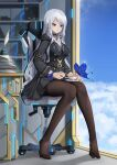 1girl black_dress black_legwear black_skirt blue_butterfly blue_eyes bug butterfly chair cup dress feet flower full_body highres holding holding_cup insect jewelry long_hair miso_(b7669726) necklace no_shoes original pantyhose shirt silver_hair sitting skirt soles teacup thigh-highs white_shirt