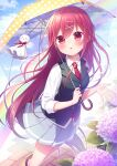 1girl cute flower original red_eyes redhead umbrella