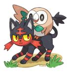 :3 animal_focus artist_name black_sclera cat closed_mouth colored_sclera commentary_request creatures_(company) full_body game_freak gen_7_pokemon grass happy litten looking_at_another looking_back nintendo no_humans outline pokemon pokemon_(creature) red_eyes riding rorosuke rowlet simple_background smile standing twitter_username white_background white_eyes yellow_sclera