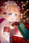 1girl :d blonde_hair blue_eyes blurry blush bokeh box braid christmas christmas_present dated depth_of_field eyebrows_visible_through_hair fur_trim g36_(girls_frontline) gift gift_box girls_frontline glasses gloves hair_ornament happy highres maid_headdress official_alternate_costume open_mouth opening single_braid smile solo striped striped_neckwear yiyiqiany younger