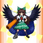 1girl arm_cannon bangs bird_wings black_footwear black_legwear black_wings blouse bow brown_hair cape closed_mouth collared_blouse control_rod eyebrows_visible_through_hair frilled_skirt frills full_body green_bow green_skirt hair_between_eyes hair_bow kneehighs long_hair looking_at_viewer mismatched_footwear pixel_art puffy_short_sleeves puffy_sleeves radiation_symbol red_eyes reiuji_utsuho short_sleeves skirt smile solo standing starry_sky_print third_eye touhou triangle_print tsukimiya_toito v-shaped_eyebrows weapon white_blouse white_cape wings