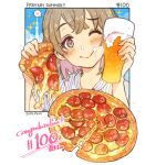 1other alcohol ambiguous_gender beer blush cup english_text eyebrows_visible_through_hair food food_focus glass heart highres holding holding_cup holding_food holding_pizza meat momiji_mao one_eye_closed original pepperoni pizza pizza_slice simple_background smile sparkle speech_bubble white_background