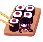1girl ankle_boots bangs black_hair blunt_bangs blush_stickers boots brown_footwear chibi chopsticks closed_mouth commentary danganronpa_(series) danganronpa_v3:_killing_harmony english_commentary food hair_ornament hairclip harukawa_maki highres long_hair long_sleeves low_twintails minigirl missarilicious mole mole_under_eye pout pun red_eyes red_legwear simple_background sitting solo sushi twintails white_background