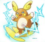 alolan_form alolan_raichu animal_focus artist_name blue_eyes blush_stickers commentary_request creatures_(company) electricity full_body game_freak gen_7_pokemon happy highres multicolored multicolored_eyes nintendo no_humans open_mouth pokemon pokemon_(creature) rorosuke simple_background smile solo twitter_username white_background yellow_eyes