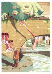 1other arms_behind_back azuumori blonde_hair boots bridge child commentary english_commentary frog hood hood_down hoodie long_sleeves monster orange_footwear orange_hoodie original pants poster_(object) river saliva smile under_bridge walking
