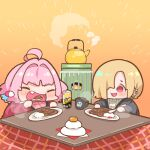2girls blonde_hair blue_hair blush can censored chibi closed_eyes cup curry ear_piercing earrings eating eyebrows_visible_through_hair fang food fruit hair_over_one_eye hand_up holding holding_spoon idolmaster idolmaster_cinderella_girls jewelry kettle kotatsu long_sleeves mandarin_orange mosaic_censoring mug multicolored_hair multiple_girls open_mouth piercing pill_earrings pink_hair red_eyes rice shiny shiny_hair shirasaka_koume short_eyebrows skull_print spoon steam table takato_kurosuke two-tone_hair v-shaped_eyebrows yumemi_riamu