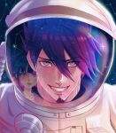 1boy 1girl alternate_costume astronaut bangs collarbone constellation crying crying_with_eyes_open danganronpa_(series) danganronpa_v3:_killing_harmony face facial_hair goatee grin hair_between_eyes hair_ornament hair_scrunchie hairclip harukawa_maki highres looking_at_another looking_at_viewer low_twintails male_focus missarilicious momota_kaito open_mouth pink_blood pink_eyes red_eyes red_scrunchie reflection scrunchie sky smile solo_focus space space_helmet star_(sky) starry_sky tears twintails upper_teeth