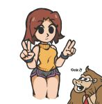 1boy 1girl bangs black_eyes breasts brown_hair closed_mouth commentary covered_navel cropped_legs dolphin_shorts donkey_kong donkey_kong_country double_v english_commentary eyebrows_visible_through_hair grey_shorts gummuru looking_at_another looking_at_viewer medium_breasts mii_(nintendo) mii_gunner necktie orange_sweater parted_bangs raised_eyebrows red_neckwear short_hair short_shorts shorts simple_background sleeveless sleeveless_turtleneck super_smash_bros. sweater thighs turtleneck turtleneck_sweater v white_background wristband