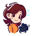 1girl ahoge artist_name bangs blue_gloves brown_hair chibi closed_mouth commentary cropped_shoulders dot_nose english_commentary eyebrows_visible_through_hair flipped_hair gloves hand_up light_smile long_hair looking_at_viewer metagaim mii_(nintendo) mii_gunner motion_lines notice_lines orange_sweater parted_bangs signature solo super_smash_bros. sweater symbol_commentary turtleneck turtleneck_sweater twitter_username waving white_background