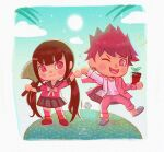 1boy 1girl :d animal_crossing artist_name axe bangs black_hair black_skirt blush_stickers border brown_footwear commentary danganronpa_(series) danganronpa_v3:_killing_harmony facial_hair goatee gyroid_(animal_crossing) happy harukawa_maki holding holding_axe jacket long_hair looking_at_viewer missarilicious mole mole_under_eye momota_kaito one_eye_closed open_mouth palm_tree pants parody pink_jacket pink_pants plant potted_plant red_legwear school_uniform shoes skirt smile style_parody sun thigh-highs tongue tongue_out tree twintails white_border