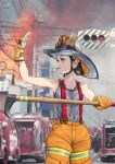1girl brown_hair firefighter firetruck gloves hot red_eyes see-through sweat sweating sweating_profusely wet whistle