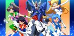 4girls ^_^ aino_minako bangs bishoujo_senshi_sailor_moon black_hair blonde_hair blue_eyes blue_hair breasts brown_hair card chinese_commentary clenched_hand closed_eyes confused crossover elbow_gloves fighting_stance gloves gundam highres hino_rei holding holding_card kino_makoto long_hair magical_girl mecha medium_breasts mizuno_ami mobile_suit_moon_gundam moon_gundam multiple_girls namesake one_eye_closed open_hand open_mouth sailor_jupiter sailor_mars sailor_mercury sailor_senshi_uniform sailor_venus short_hair smile v-fin wavy_eyebrows white_gloves xin_weijue2