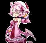 1girl ;d ahoge bra choker collarbone cowboy_shot detached_sleeves disgaea dress frilled_dress frills gloves harada_takehito hat looking_away majolaine_(disgaea) makai_senki_disgaea_6 one_eye_closed open_mouth pink_dress pink_gloves pink_hair pink_sleeves pink_wings red_eyes red_neckwear short_hair side_ponytail smile solo striped underwear vertical_stripes white_bra white_headwear wings