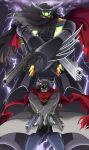1boy black_getter blue_eyes brown_hair cape clouds cloudy_sky coat dual_wielding getter_robo grey_coat gun handgun holding holding_gun holding_weapon kishia_(jun'aist) lightning looking_up mecha nagare_ryoma pistol red_scarf scarf science_fiction shin_getter_robo sky super_robot trench_coat weapon yellow_eyes