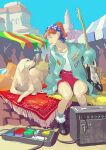 1girl amplifier_(instrument) aqua_jacket black_footwear blue_eyes boots brown_hair building dog full_body guitar instrument jacket long_hair original outdoors pedal_(instrument) pillow pomodorosa red_skirt rug shirt sitting skirt white_shirt