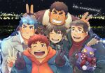 5boys ^_^ alternate_costume anniversary black_scarf blush casual closed_eyes creature demon double_v facial_hair fiery_hair forked_eyebrows fur-trimmed_jacket fur_trim glasses gloves goatee head_on_head highres jacket kengo_(tokyo_houkago_summoners) kontahsm master_4_(tokyo_houkago_summoners) multiple_boys open_clothes open_jacket plump red_sweater ryota_(tokyo_houkago_summoners) scar scar_on_cheek scar_on_face scarf shiro_(tokyo_houkago_summoners) smile sweater thick_eyebrows toji_(tokyo_houkago_summoners) tokyo_houkago_summoners undercut v winter_clothes