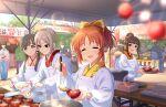 abe_nana blush closed_eyes idolmaster_cinderella_girls_starlight_stage kimono orange_hair short_hair