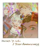 1girl 3boys :d alzi_xiaomi anniversary arm_up bangs blonde_hair blue_eyes blurry brown_hair cake character_request claude_von_riegan close-up collar confetti dated dimitri_alexandre_blaiddyd edelgard_von_hresvelg eyebrows_visible_through_hair fire_emblem fire_emblem:_three_houses food framed from_side garreg_mach_monastery_uniform green_eyes hair_between_eyes highres holding holding_cake holding_food long_hair long_sleeves looking_at_another looking_at_viewer looking_down multiple_boys open_mouth parted_bangs parted_lips party photo_(object) purple_hair short_hair signature silver_hair simple_background smile surprised sweatdrop uniform violet_eyes
