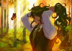 arms_up artist_name bangs brown_vest bug butterfly collared_shirt commentary danganronpa_(series) danganronpa_v3:_killing_harmony day forest from_side glasses gokuhara_gonta green_hair green_neckwear hands_in_hair hands_up insect insect_request long_hair long_sleeves looking_at_animal messy_hair missarilicious nature necktie outdoors parted_lips profile shirt smile solo upper_body very_long_hair vest wavy_hair white_shirt
