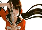 1girl absurdres bangs black_hair blunt_bangs blush brown_hair collarbone commentary_request danganronpa_(series) danganronpa_v3:_killing_harmony floating_hair hair_ornament hair_scrunchie hand_up harukawa_maki highres holding holding_knife holding_sword holding_weapon knife long_hair long_sleeves looking_at_viewer missarilicious mole mole_under_eye red_eyes red_scrunchie school_uniform scrunchie serafuku simple_background solo sword twintails upper_body weapon white_background