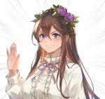 1girl bangs blush breasts brown_hair closed_mouth collar collared_shirt commentary_request eyebrows_visible_through_hair flower granblue_fantasy hair_between_eyes hair_flower hair_ornament hand_up kakage lips long_hair long_sleeves looking_at_viewer neck_ribbon pink_neckwear pink_ribbon purple_flower purple_rose ribbon rose rosetta_(granblue_fantasy) shirt sidelocks simple_background smile solo thigh-highs upper_body very_long_hair white_background white_shirt