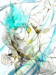 1boy abs aura blue_eyes blue_hair dated dragon_ball dragon_ball_super dragon_ball_super_broly dragon_ball_z gogeta highres male_focus metamoran_vest muscular muscular_male pants pectorals sash shin_(sinsin12121) smile solo spiky_hair super_saiyan super_saiyan_blue twitter_username wristband