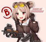 1girl breasts bullpup choker commission double_bun eyewear_on_head girls_frontline gloves gun highres light_brown_hair medium_breasts p90 p90_(girls_frontline) partially_fingerless_gloves red_eyes rynzfrancis short_hair solo submachine_gun sunglasses weapon
