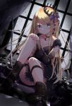 1girl ankle_boots bangs black_dress black_footwear blonde_hair blue_eyes blurry blush boots bow choker collarbone commentary_request cross-laced_footwear crown depth_of_field detached_sleeves dot_nose dress dutch_angle emori_miku_project emu_alice eyebrows_visible_through_hair feathers frilled_dress frills full_body gomano_rio hair_bow hands_on_own_knee heart heart_choker high_heel_boots high_heels highres lace-trimmed_sleeves lace_trim legband long_hair looking_at_viewer nail_polish parted_lips purple_bow purple_nails sitting solo swept_bangs sword thigh_strap very_long_hair weapon