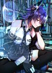 1girl black_gloves black_jacket black_skirt checkered checkered_neckwear commentary_request eyepatch gloves hand_on_own_face headgear highres holographic_touchscreen indian_style jacket kantai_collection katsuobushi_(eba_games) necktie off_shoulder partially_fingerless_gloves pleated_skirt purple_hair short_hair sitting skirt solo tenryuu_(kantai_collection) thigh-highs yellow_eyes