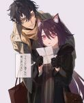 1boy 1girl alternate_costume animal_ear_fluff animal_ears arknights arrow_(symbol) bag bangs black_gloves black_hair black_jacket brown_eyes brown_scarf casual cat_ears cat_girl flamebringer_(arknights) fur-trimmed_jacket fur_trim gloves grey_background grey_jacket hair_between_eyes handbag height_difference highres holding holding_letter horns jacket jewelry ji_mag_(artist) leaning_forward letter long_sleeves melantha_(arknights) necklace open_clothes open_jacket open_mouth pink_eyes pointy_ears purple_hair reading scarf shopping_bag short_hair shoulder_bag simple_background single_horn striped translation_request unzipped vertical_stripes zipper