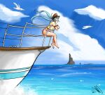 1girl absurdres bare_legs barefoot bikini bikini_bottom bird blue_background blue_eyes blue_hair blue_sky boat clouds cloudy_sky hat hatsune_miku highres horizon huge_filesize jerrisonso leaning_forward leaning_on_rail long_hair mountain mountainous_horizon ocean railing red_bikini seagull shirt signature sitting sky smile solo sunlight swimsuit twintails very_long_hair vocaloid water watercraft