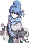 1girl absurdres blue_hair blue_scarf blush closed_mouth hair_bun highres long_hair long_sleeves looking_at_viewer n2midori scarf shima_rin smile solo violet_eyes yurucamp