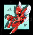 artist_name black_border blue_background border commentary_request drop_shadow full_body gen_2_pokemon highres insect_wings looking_up outside_border pokemon pokemon_(creature) rorosuke scizor simple_background solo twitter_username wings yellow_eyes