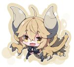 1girl :d ahoge bikini black_bikini black_legwear blush breasts brown_eyes brown_hair brown_outline brown_wings chibi commentary_request curled_horns diablos dragon_girl dragon_horns dragon_wings fang full_body horns large_breasts leaning_forward long_hair milkpanda monster_hunter no_shoes open_mouth outline personification short_eyebrows smile solo sparkle swimsuit thick_eyebrows thigh-highs very_long_hair white_background wings