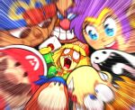 arms_(game) bandana_waddle_dee bangs beanie blonde_hair blue_eyes blue_headwear blunt_bangs blurry_foreground blush_stickers brown_eyes circlet closed_mouth commentary cropped_jacket crossover doll domino_mask dr._eggman earrings english_commentary envelope facial_hair geno_(mario) green_jacket grin hat holding hoop_earrings jacket jewelry knit_hat looking_at_another mario mario_(series) mask mast3r-rainb0w meandros min_min_(arms) multiple_boys multiple_girls mustache open_mouth orange_headwear paper_mario pince-nez print_headwear purple_hair rayman red_headwear rhythm_tengoku screaming shantae_(character) shantae_(series) smile solid_circle_eyes sonic_the_hedgehog sunglasses super_mario_rpg super_smash_bros. teeth tongue uvula waddle_dee wall-eyed zipper_pull_tab