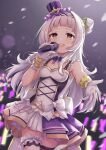 absurdres arata_(xin) armpits bangs bow breasts dress frills gloves glowstick hair_bun hair_ornament hairband hand_up hat highres holding holding_microphone hololive idol long_hair microphone murasaki_shion music open_mouth sidelocks silver_hair singing skirt small_breasts thigh_strap upper_teeth virtual_youtuber white_bow white_gloves yellow_eyes