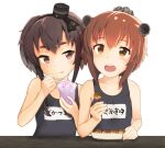 2girls :p anchor_symbol black_hair blue_swimsuit blush brown_eyes brown_hair clothes_writing collarbone commentary_request eating flat_chest food gradient_hair hairband hat headgear headset highres holding holding_food holding_spoon ice kantai_collection mini_hat multicolored_hair multiple_girls name_tag one-piece_swimsuit open_mouth school_swimsuit shaved_ice shiki_no_miko short_hair short_hair_with_long_locks speaking_tube_headset spoon swimsuit table takoyaki thick_eyebrows tokitsukaze_(kantai_collection) tongue tongue_out toothpick upper_body violet_eyes white_background yukikaze_(kantai_collection)